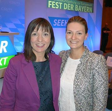 Judith Gerlach, MdL (rechts) mit Barbara Becker, CSU-Europakandidatin für Unterfranken.
