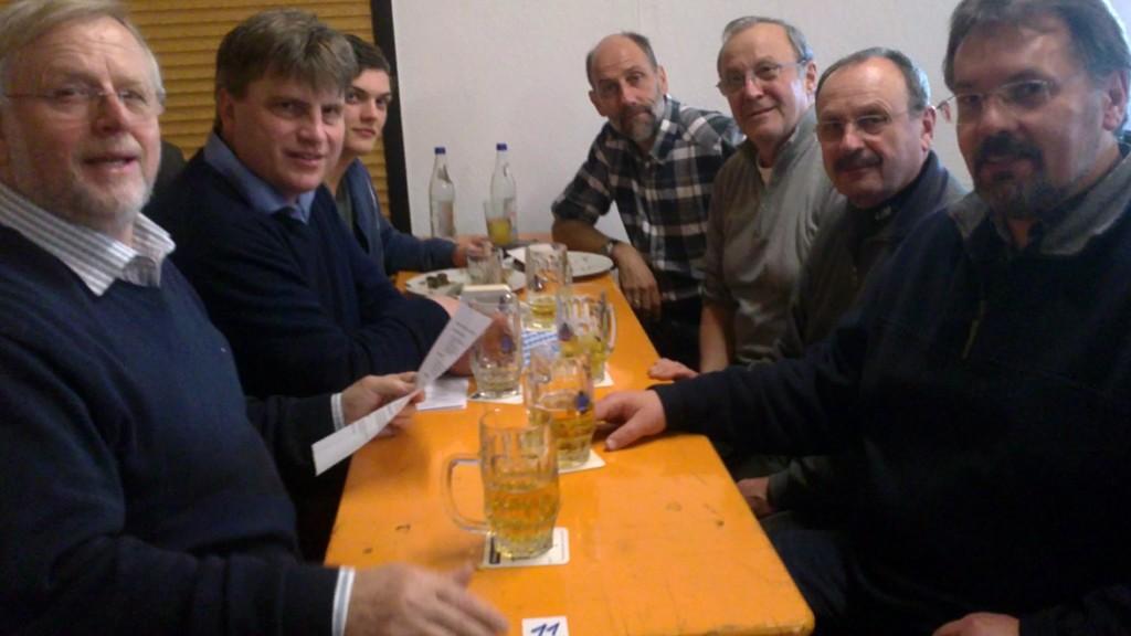 (v.l.n.r.) Bürgermeister Werner Elsässer, OB-Kandidat Winfried Bausback, Peter Gerlach, Gerald Otter, Manfred Sever, Wilfried Pruss, Stadtrat Thomas Gerlach