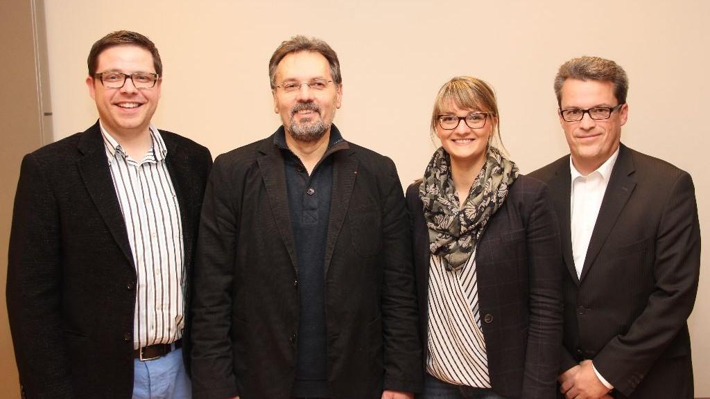 Neu gewählter CSU-Vorstand: v. l. Tobias Heyde, Thomas Gerlach, Judith Gerlach (MdL), Frank Christl