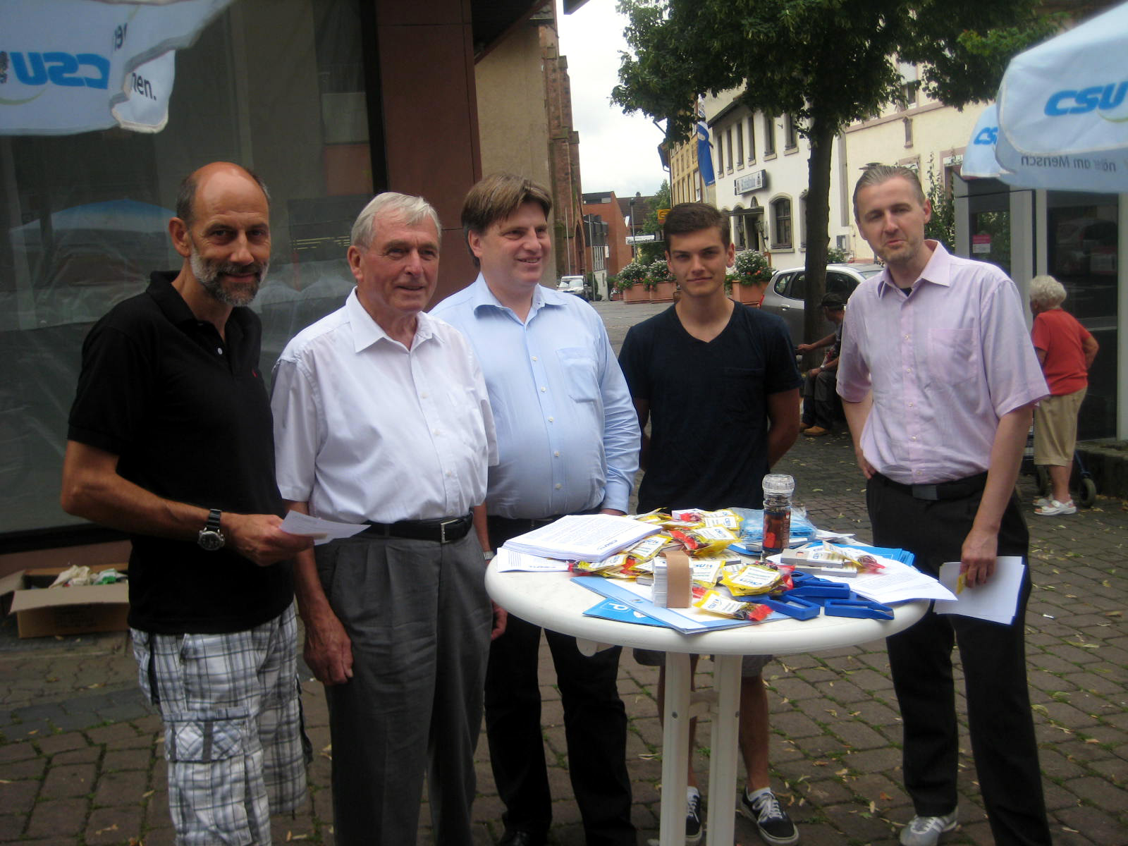 (v. l.): Gerald Otter, Günter Dehn, Winfried Bausback (MdL), Peter Gerlach, Matthias Tübel