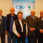 v. l. : Andrea Lindholz (MdB), Franz Bittenbinder (50 Jahre), Reinhard Moraw (30 Jahre), Horst Sandt (35 Jahre), Armin Martin (70 Jahre), Vinzenz Rickert (30 Jahre), Thomas Gerlach (Ortsvorsitzender), Judith Gerlach (MdL)